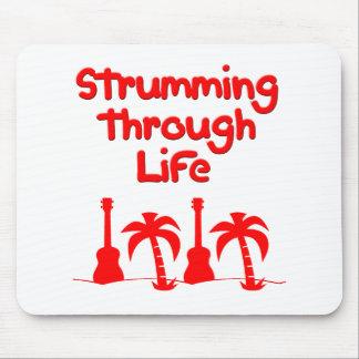 Red Hawaain Ukulele Uke Tropical Surf Design Mouse Pad