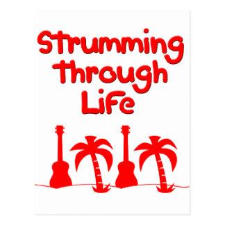 Red Hawaain Ukulele Uke Tropical Surf Design Postcard