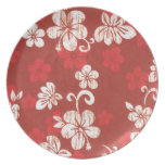 Red Hawaii Hibiscus Plate