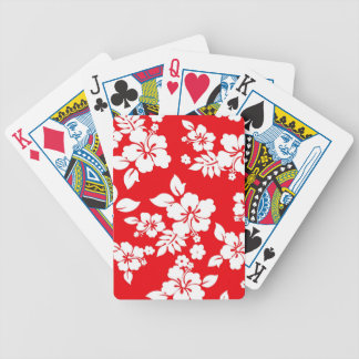 Red Hawaiian Bicycle Playing Cards