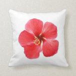 Red Hawaiian Hibiscus Flower Pillow