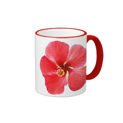 Red Hawaiian Hibiscus Flower Ringer Mug