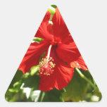 Red Hawaiian Hibiscus Flower Triangle Sticker