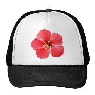 Red Hawaiian Hibiscus Flower Trucker Hat