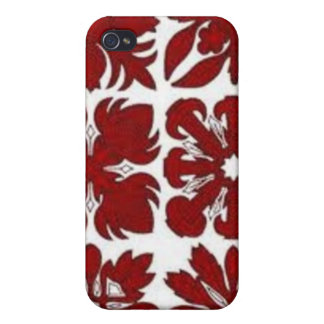 Red Hawaiian Quilt Case For iPhone 4