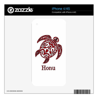 Red Hawaiian Sea Turtle on White Skins For The iPhone 4