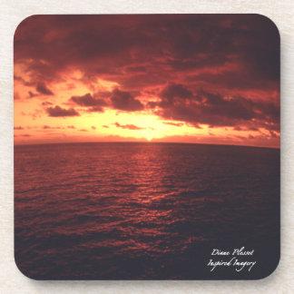Red Hawaiian Sunset Cork Coaster