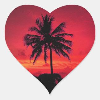 Red Hawaiian Sunset Exotic Palm Trees Heart Sticker