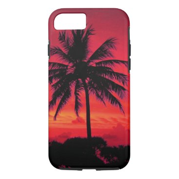 Beach Themed Red Hawaiian Sunset Exotic Palm Trees iPhone 7 Case