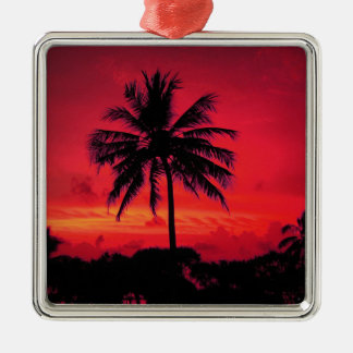 Red Hawaiian Sunset Exotic Palm Trees Metal Ornament