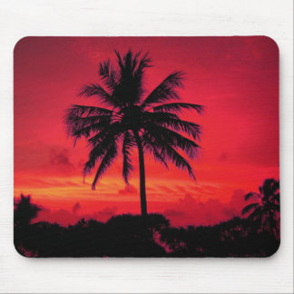 Red Hawaiian Sunset Exotic Palm Trees Mouse Pad
