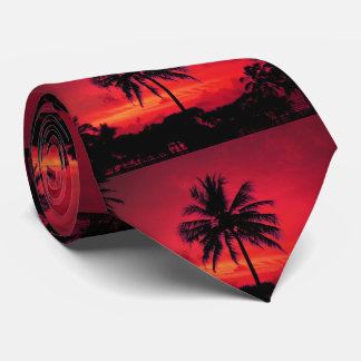 Red Hawaiian Sunset Exotic Palm Trees Neck Tie