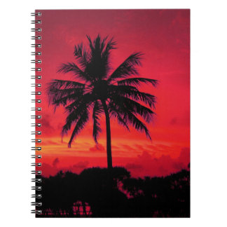 Red Hawaiian Sunset Exotic Palm Trees Notebook