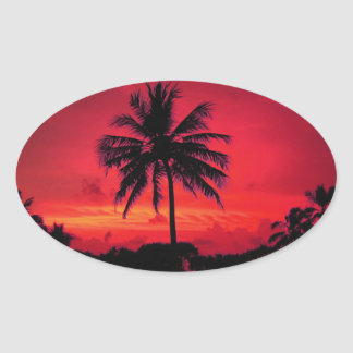 Red Hawaiian Sunset Exotic Palm Trees Oval Sticker