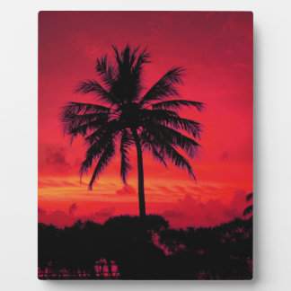 Red Hawaiian Sunset Exotic Palm Trees Plaque