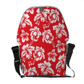Red Hawiaan Hibiscus Flowers Messenger Bag