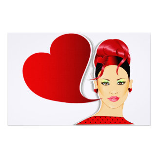 Red Head and Heart Sign Stationery