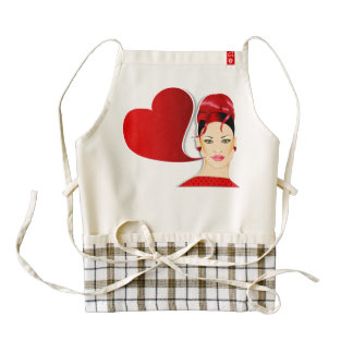 Red Head and Heart Sign Zazzle HEART Apron