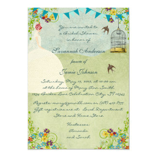 Red Head Bridal Shower Birdcage Bunting Invite
