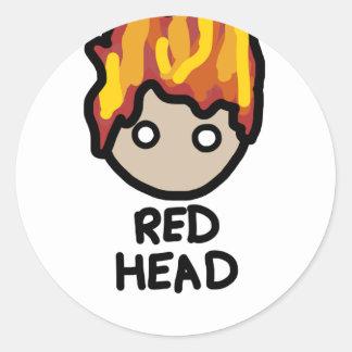 Red Head Cartoon face sticker