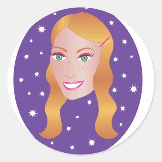 Red Head Girl.ai Classic Round Sticker