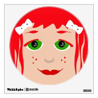 Red Head Green Eyed Girl Face Cute Cartoon Pop Art Wall Decal
