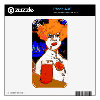 Red Head Lady Abstract Skin For iPhone 4