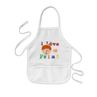 Red Head Little Boy Face Painting Kids' Apron