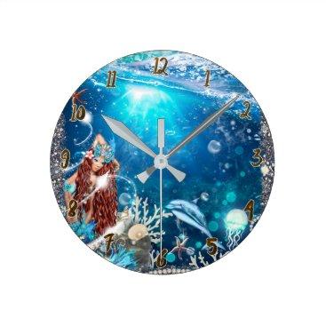 Beach Themed Red Head Mermaid Under the Sea Fantasy Custom Round Clock