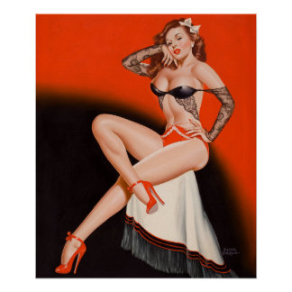 Red Head on Fringed Shawl Pin Up Art Poster