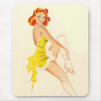 Red Head Pinup Mouse Pad