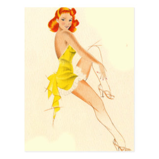Red Head Pinup Post Cards