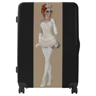 Red Head Woman Large Sized Luggage Suitcase