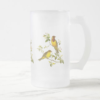 Red-Headed Bunting Frosted Glass Beer Mug