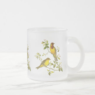 Red-Headed Bunting Frosted Glass Coffee Mug