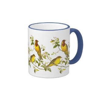 Red-Headed Bunting Ringer Coffee Mug