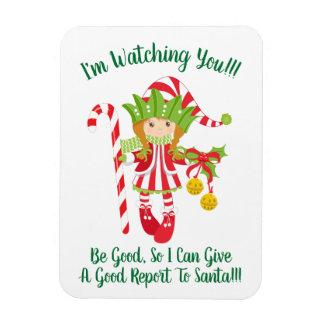 Red Headed Girl Elf Christmas Fridge Magnet