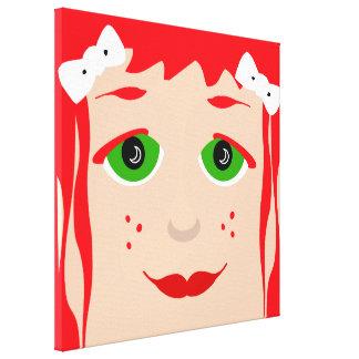 Red Headed Girl Green Eyes Girly Cartoon Pop Art Canvas Print