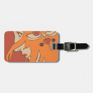 red headed girl profile travel bag tags
