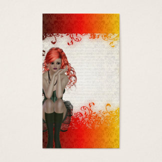 Red headed goth girl business card