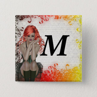 Red headed goth girl button