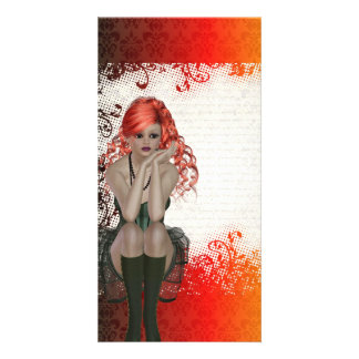 Red headed goth girl card