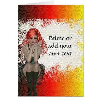 Red headed goth girl card