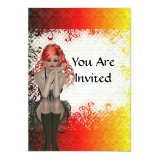 Red headed goth girl 5x7 paper invitation card