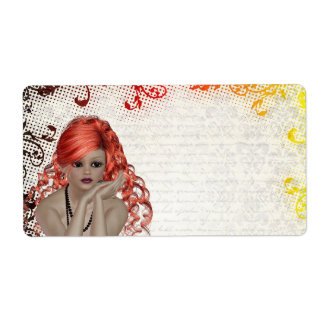 Red headed goth girl label