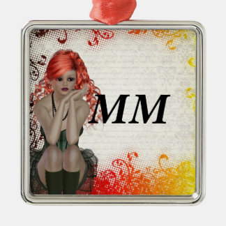 Red headed goth girl metal ornament