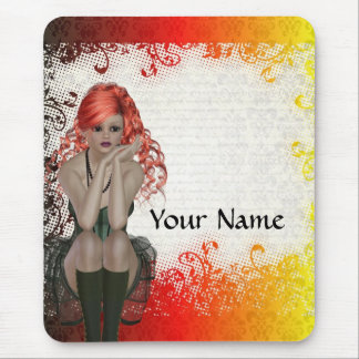 Red headed goth girl mouse pad