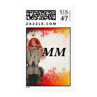 Red headed goth girl postage