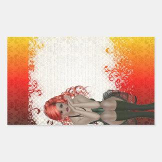 Red headed goth girl rectangular sticker