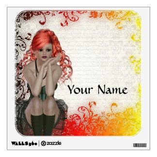 Red headed goth girl wall sticker